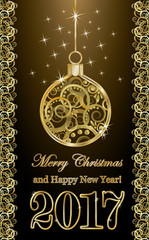 happy new year 2017 banner with golden xmas ball, vector illustration
