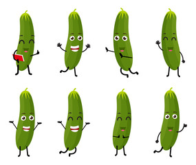 set of funny cucumber vegetable character cartoon
