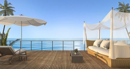 3d rendering vintage rattan sofa on wood terrace near sea in summer
