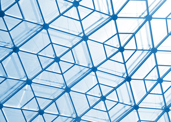 Glass roof with hexagon pattern