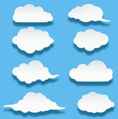 collection of cloud on blue background