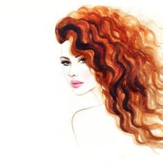 Fototapete - woman portrait .abstract watercolor .fashion background