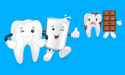 Glass of milk with tooth and Chocolate character with decay tooth. Funny illustration. Great for dental health concept.