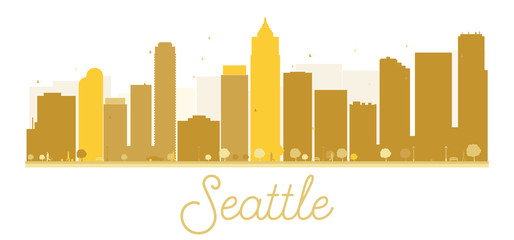 Seattle City skyline golden silhouette.