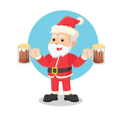 santa with beer illustration design
