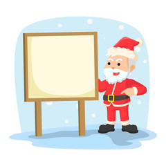 santa with sign illustration design