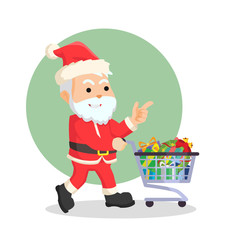 santa with trolley full of christmas box