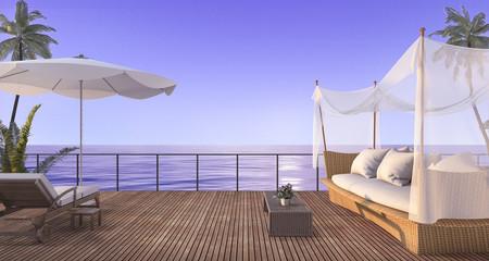 3d rendering vintage rattan sofa on wood terrace near sea in twilight scene
