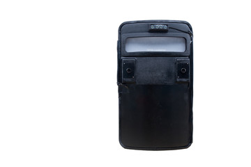 black tactical ballistic shield with flash light isolated on whi