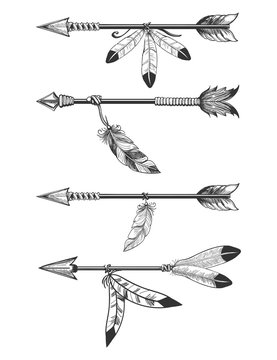 Hand drawn arrows with feathers and beads. Boho arrows isolated om white vector illustration