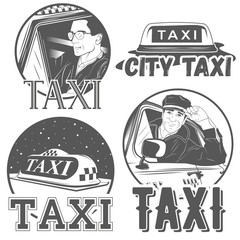 Collection of vector retro taxi logotypes
