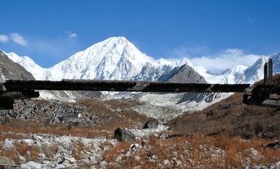 snow mountain, snow mountain and bridge in Himalaya