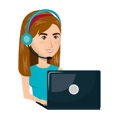 person working in laptop with headset vector illustration design