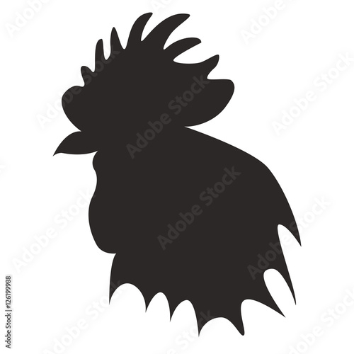 """Black silhouette of rooster head."" Stock image and ..."