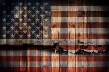 Grunge wooden USA flag