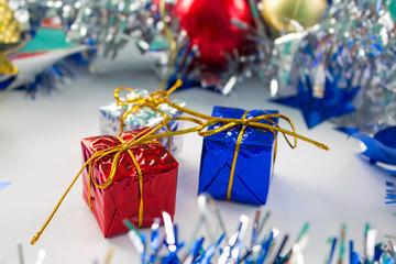 Christmas seasonal greeting card or banner template. Sparkling decor