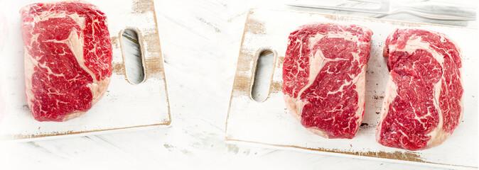 Raw Beef Steaks.