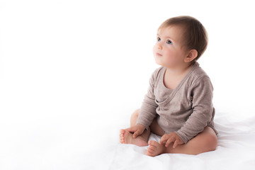 Adorable baby girl portrait on white background