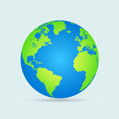 Wall Mural - Earth globes isolated on white background. Flat planet Earth icon. Vector illustration.