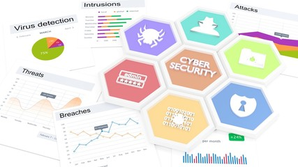 Cybersecurity symbols and vulnerability charts