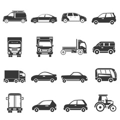 car icons, transportation icons