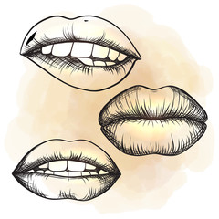 A set of lips on a watercolor background. Open mouth with tongue