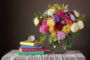 Bouquet and book. Back to school.