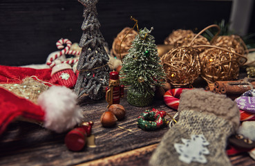 Christmas or New Year dark wooden background, Xmas brown board f