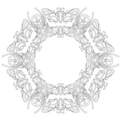 Round ornate frame consisting of vignettes in art nouveau style. Patera Vector illustration