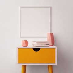 Mockup poster in the interior with a table in trendy colors. 3d