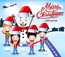 Snowman and Children Playing Snowballs Outdoor on Winter Season Vector Illustration