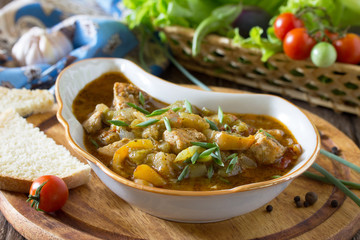 Buglama Georgian. Traditional hot ragout with meat and vegetable