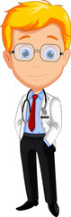 Cute male doctor cartoon posing