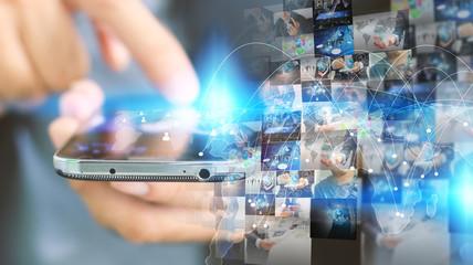 Hand touch screen smart phone.Digital technology concept,Social