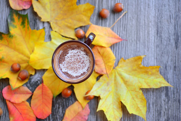 Autumn Cup of coffee, nuts, chocolate and autumn leaves. Autumn background. Autumn scene. Coffee and autumn leaves. Top View