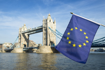 European Union flag flying in front of Tower Bridge in a statement of the Brexit EU referendum in London, UK