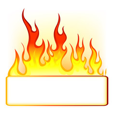 fire background with blank sign