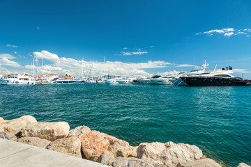 Harbor with lot of modern yachts