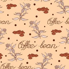 Seamless coffee background with branch of coffee and coffee beans. Hand drawn illustration in sketch style. EPS10 vector illustration