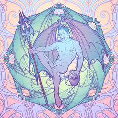 Young sexy demon with bat wings sitting and holding trident and human skull. Pinup and art Nouveau eclectic style. Intricate hand drawing, rich detailed beckground. Gay hint. EPS10 vector illustration