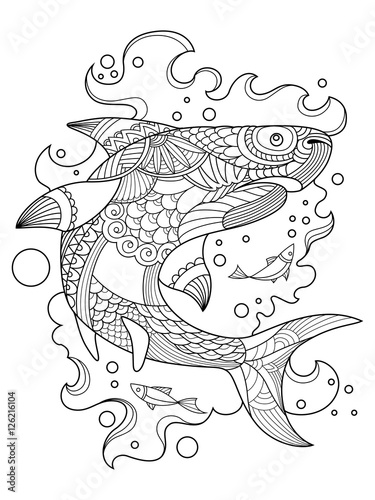 Shark Coloring Book For Adults Vector Stock Image And Royalty Free