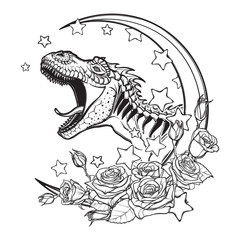 Detailed sketch style drawing of the roaring tyrannosaurus rex on a Moon and roses frame. Tattoo design. Concept art drawing. Sketch Isolated on white background. EPS10 vector illustration.