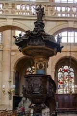 PARIS, FRANCE April 25, 2016. Church Saint-Etienne-du-Mont -view the interior.