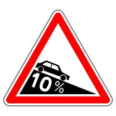 Panneau routier en France : descente dangereuse à 10%
