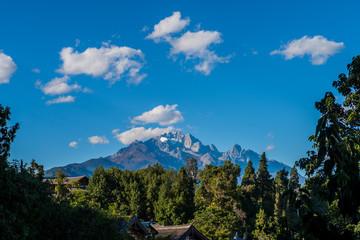 Jade Dragon Snow Mountain View from The Old Town of Lijiang, Yunnan, China.