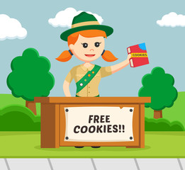 girl scout sharing cookies for free