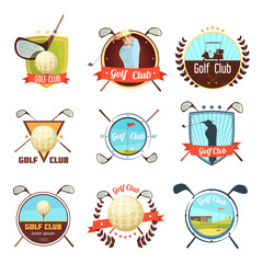 Wall Mural - Golf Clubs Retro Style Labels Set