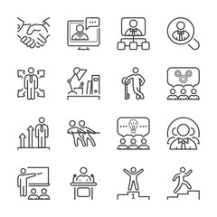 business people thin line icon set