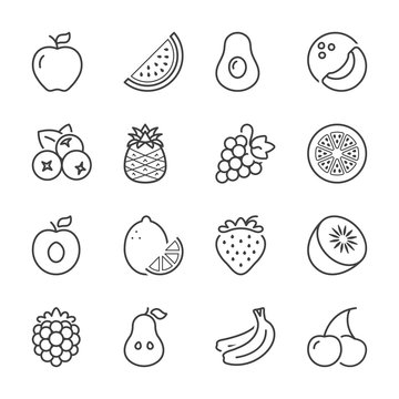 fruits line icons 1