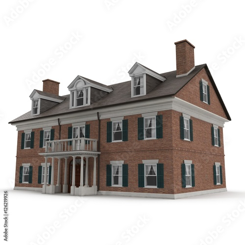Colonial Style Reproduction Home Exterior On White 3d